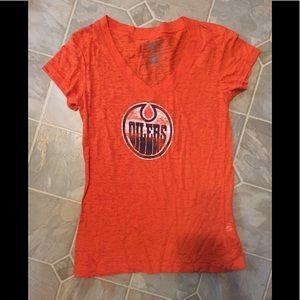 Women's Edmonton Oilers V neck T shirt